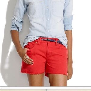 Madewell Cutoff Jean Shorts in Red